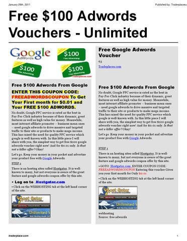 Free Adwords Coupons - Unlimited by Gary Marsh - issuu
