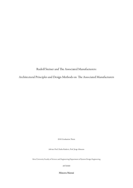 Rudolf Steiner's Design Principles and Methods for Manufacturers ...