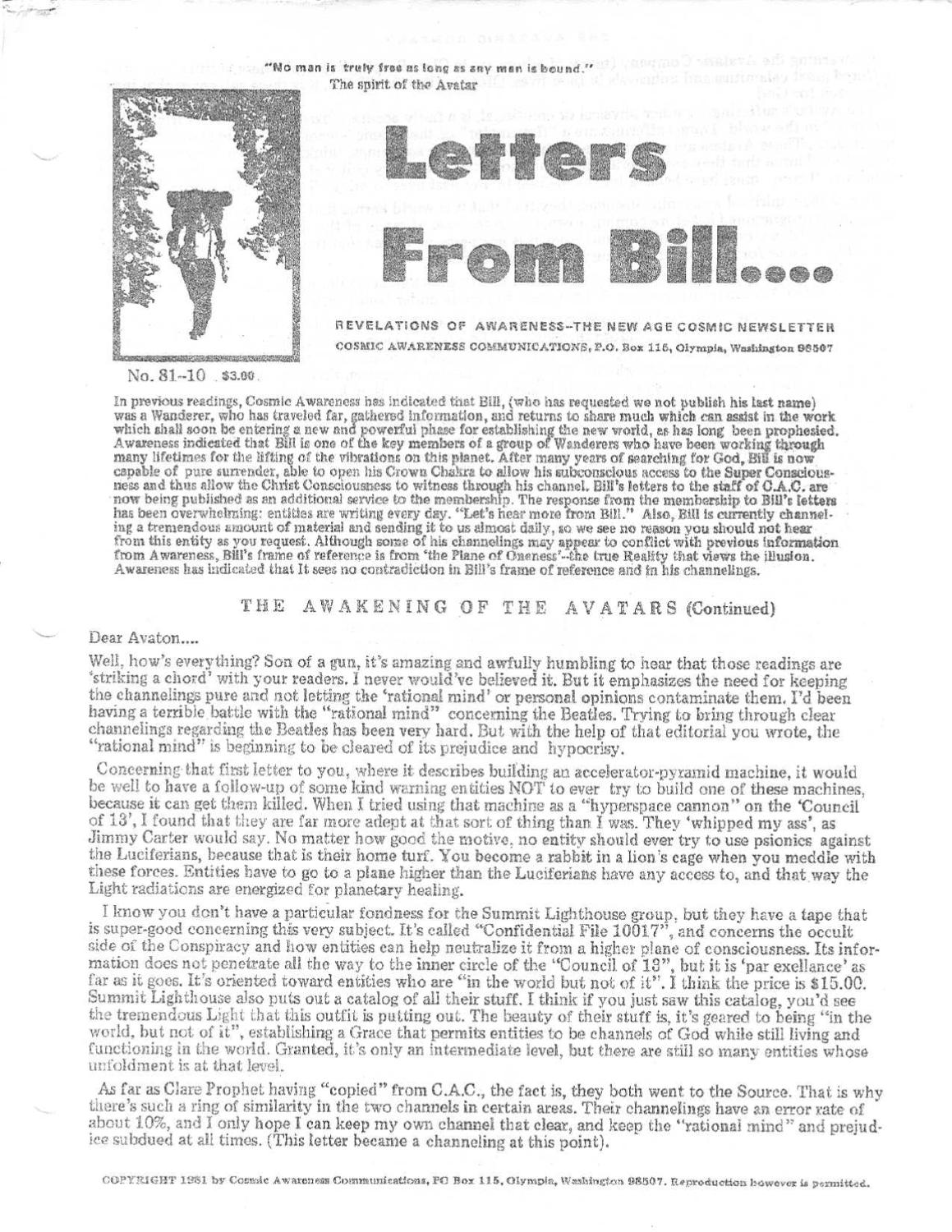 Cosmic Awareness 1981 10 Letters From Bill By Channelings