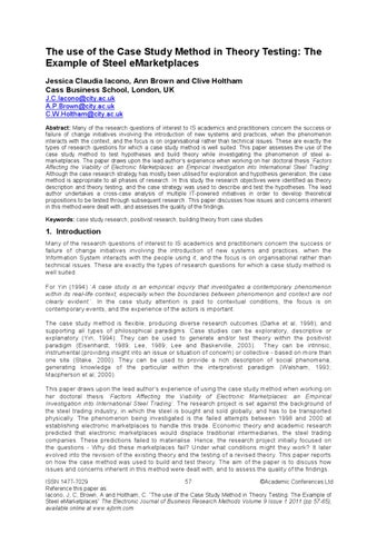 The Use Of The Case Study Method In Theory Testing The Example Of