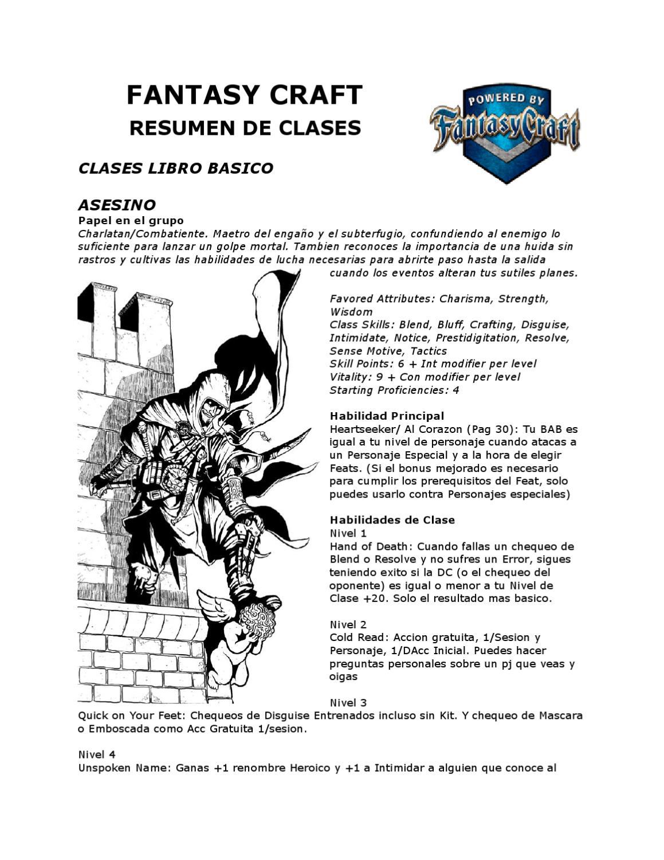 Fantasy Craft: Resumen de Clases V2 by alfredo tarancon - issuu