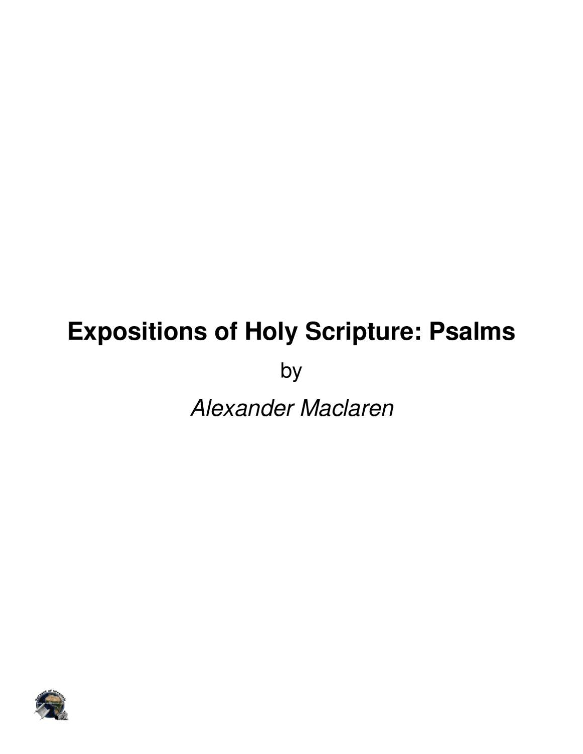 alexander maclaren expositions of holy scripture pdf