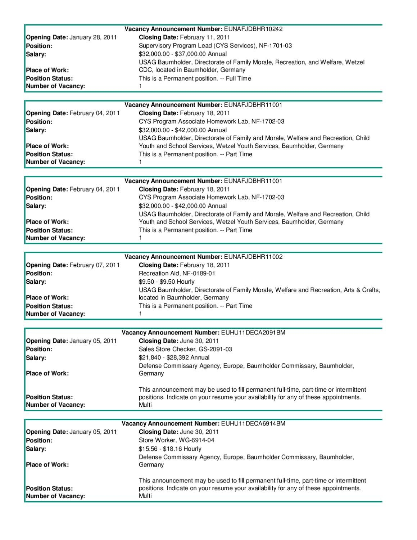 Baumholder Job Postings Week of Feb 8 by Johanna Kelly - issuu