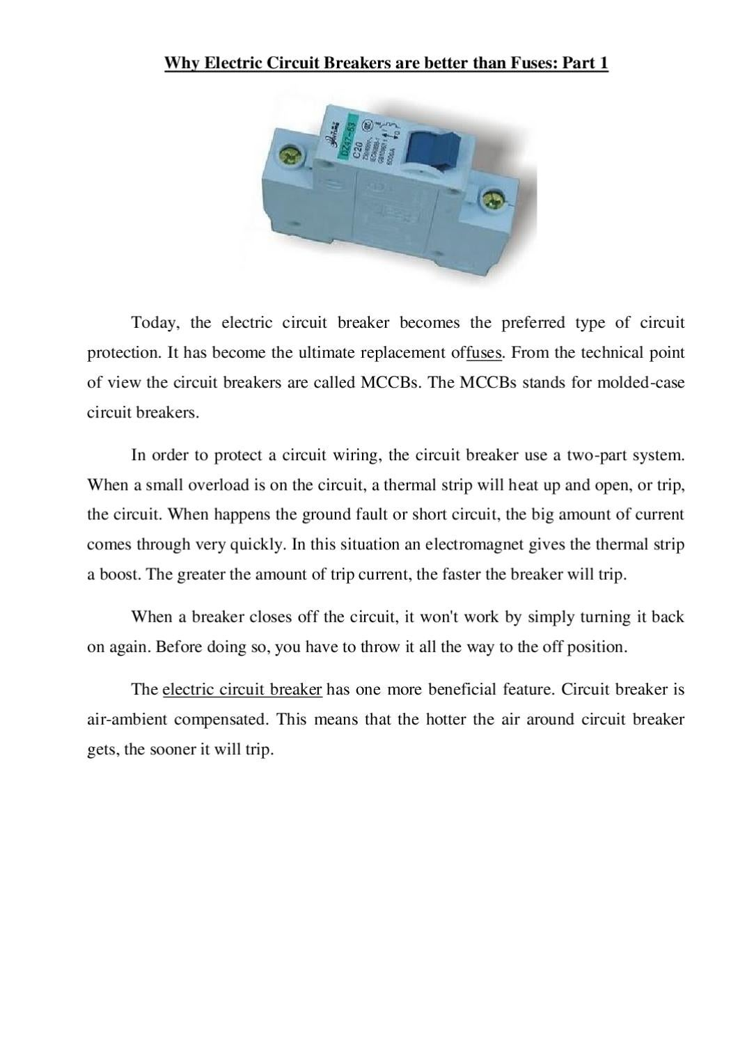 Why Electric Circuit Breakers Are Better Than Fuses Part 12 By How Does Breaker Work Oleg Powerfish Issuu