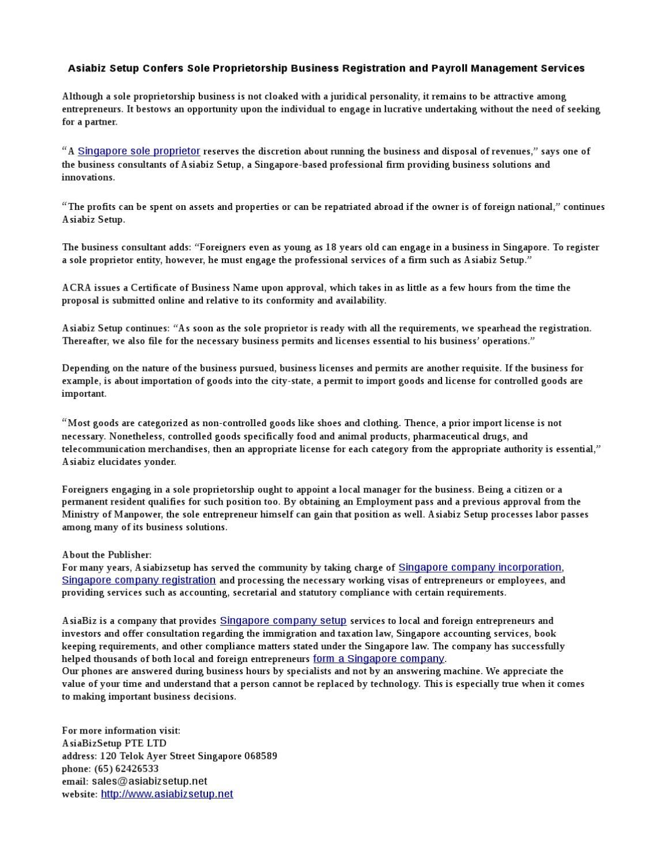 Asiabiz Setup Confers Sole Proprietorship Business Registration and