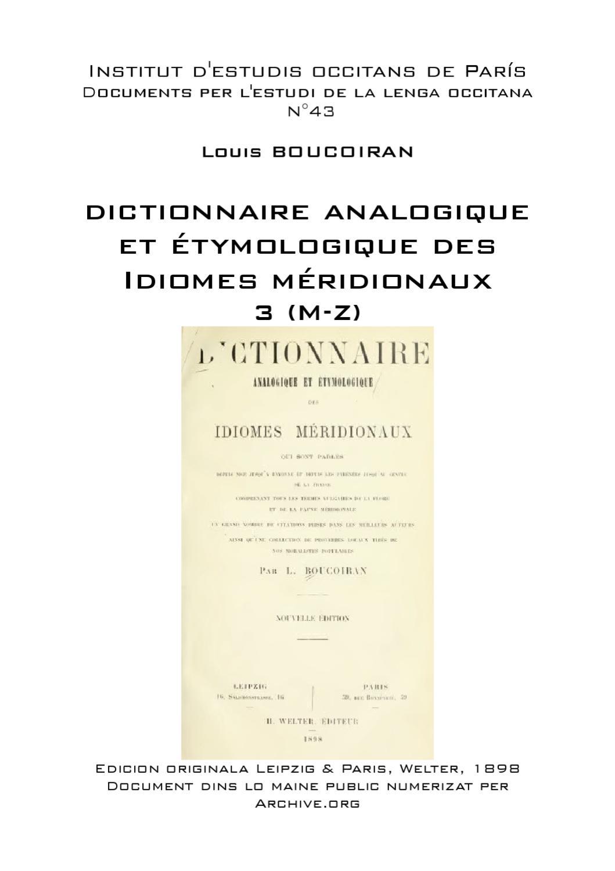 Relative Louis BOUCOIRAN - Dictionnaire analogique et étymologique des  OH88