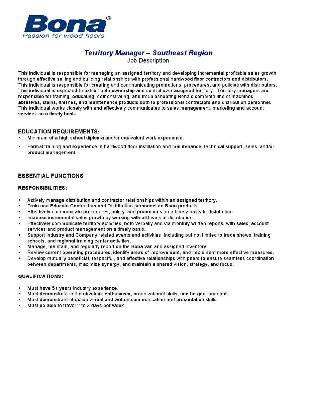Bona Us Southeast Region Territory Manager Job Description