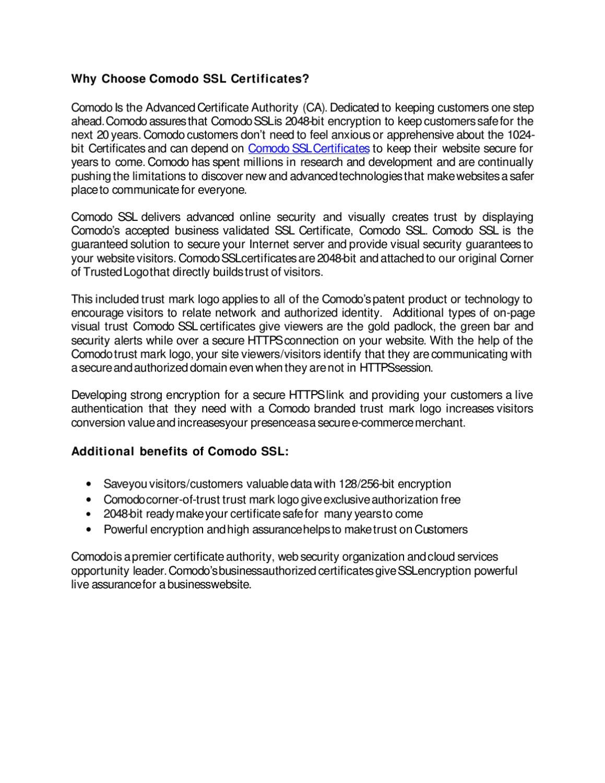 Why choose comodo ssl certificates by comodo ssl store issuu 1betcityfo Gallery