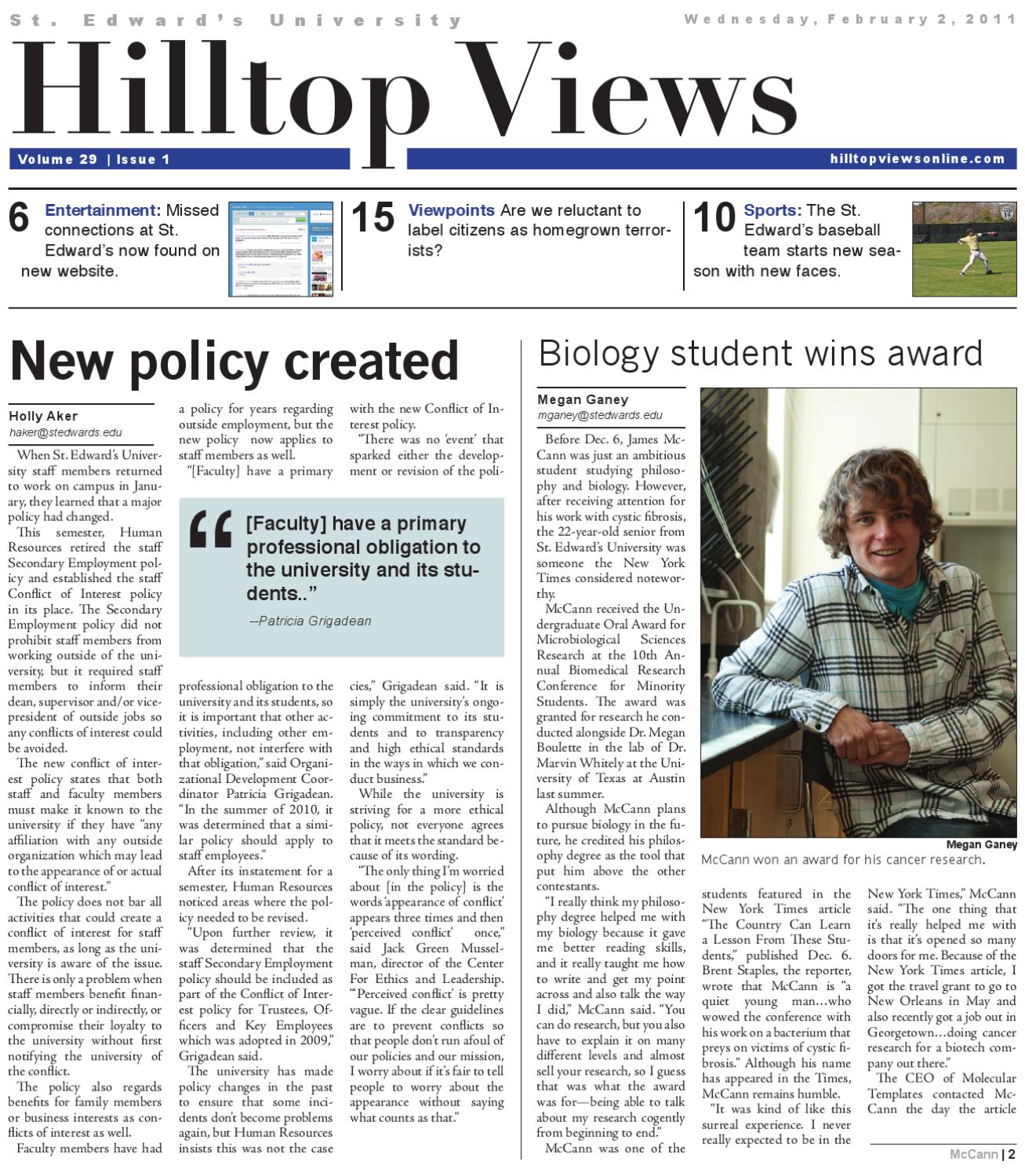 Issue #1 - February 2, 2011 by Hilltop Views - issuu