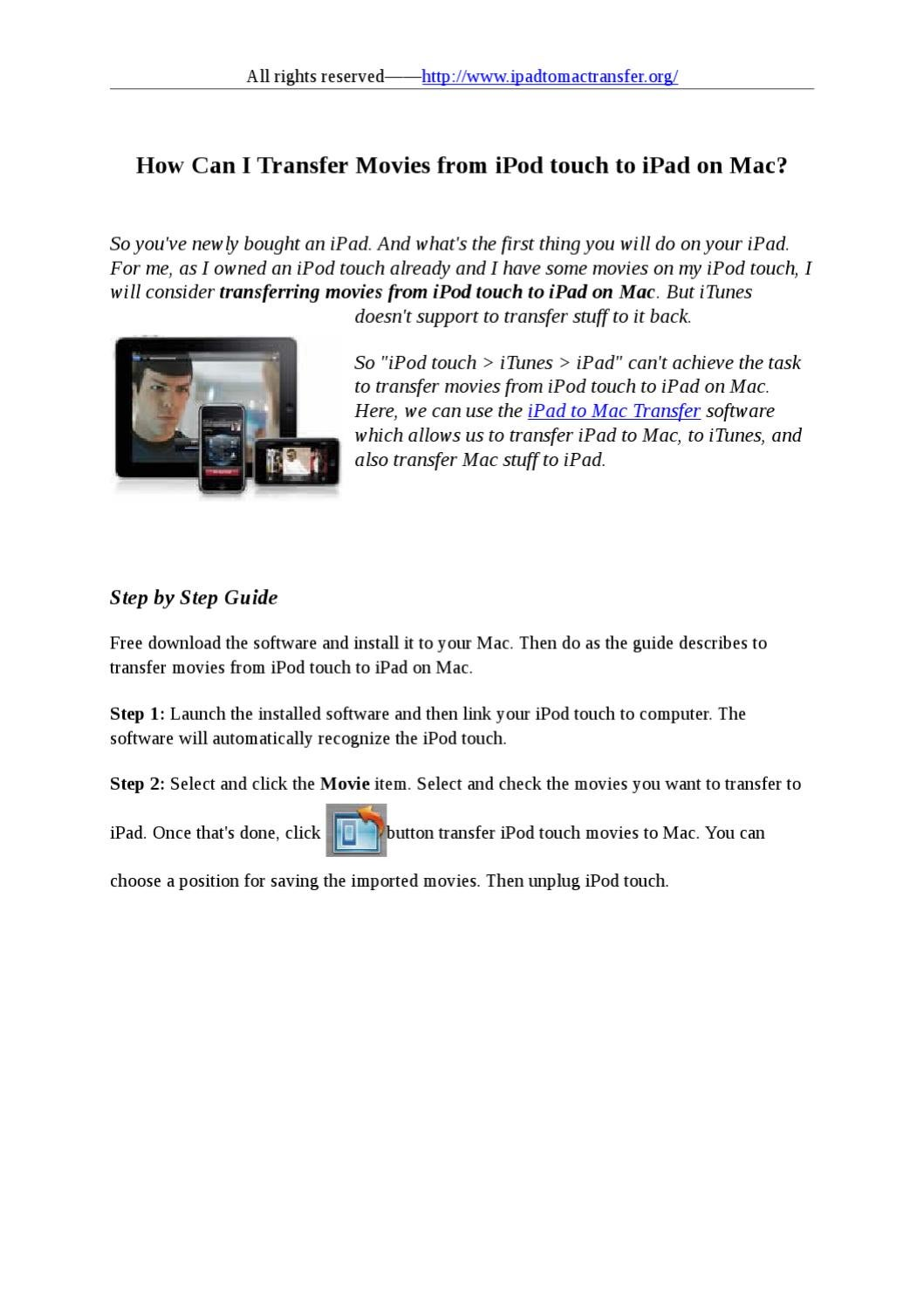 Transfer Movies from iPod touch to iPad on Mac by stafenia