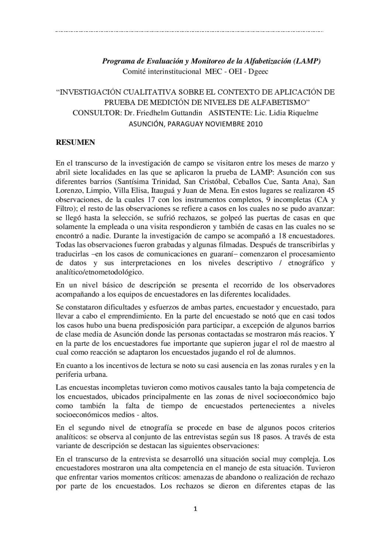 Estudio etnográfico del LAMP Paraguay, Friedhelm Guttandin by OEI ...