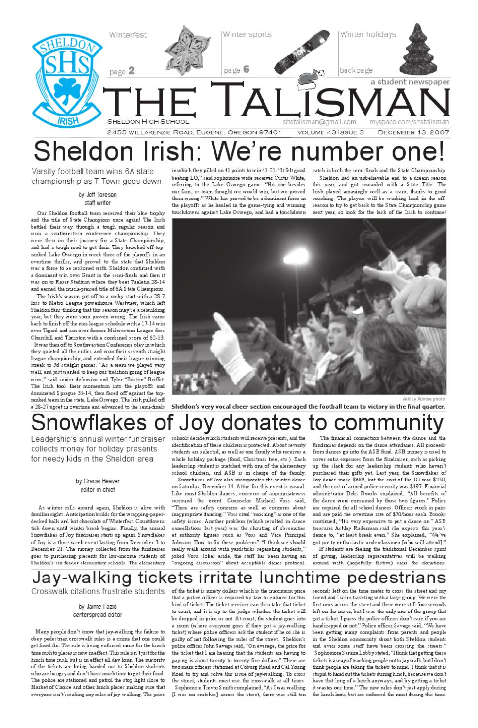 Volume 43 Issue 3-December 13, 2007 by The Talisman - issuu