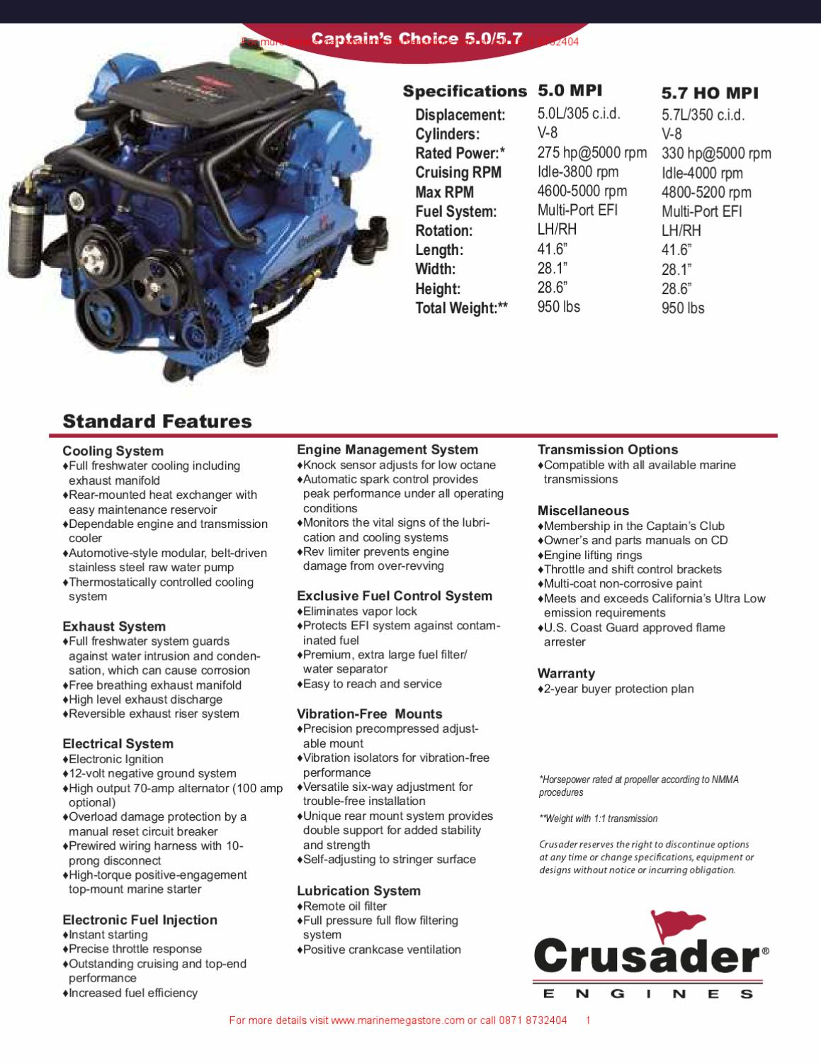 crusader crusader captain s choice 5 0 5 7 by marine mega store ltd rh issuu com 5.7 Crusader Engines Parts 5.7 Crusader Engines Parts