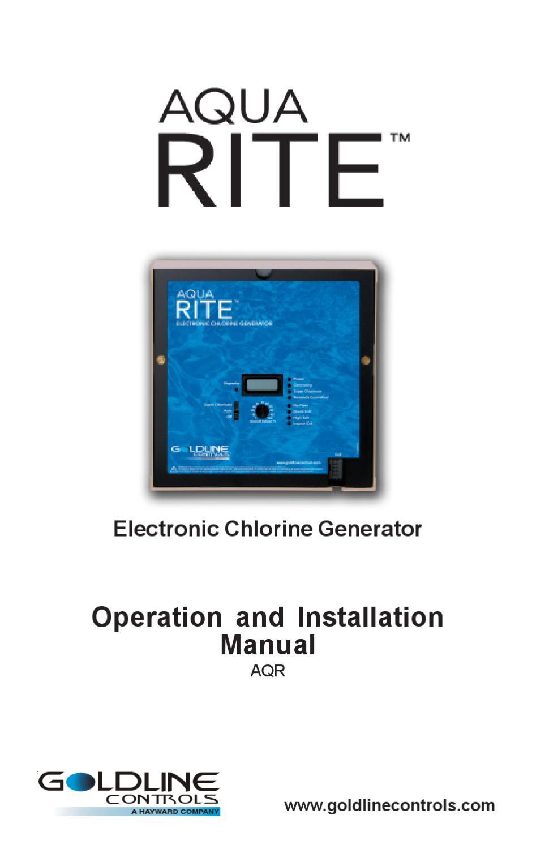 Hayward Aqua Rite Chlorine Generation System Owner's Manual