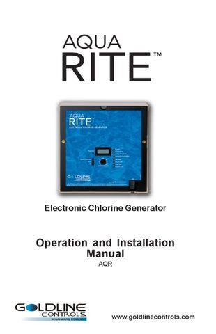 Hayward Aqua Rite Chlorine Generation System Owner's Manual by ... on