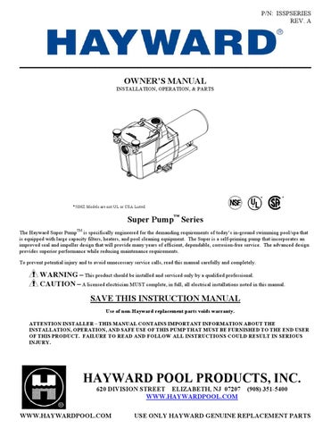 Hayward Super Pump Owner's Manual by Swimco Pools - issuu on