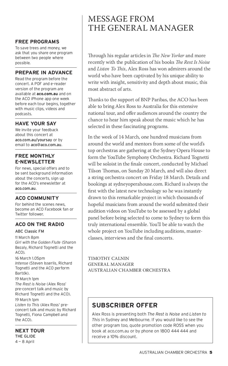 Alex Ross concert program by Australian Chamber Orchestra