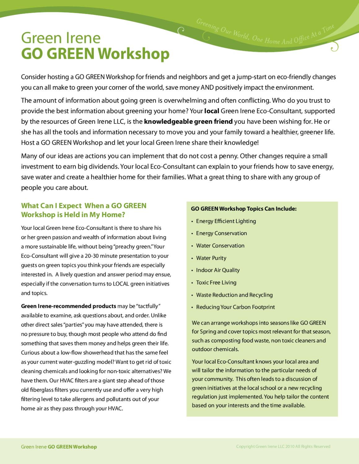 Go Green Workshop Brochure | Green Irene by Honest Green
