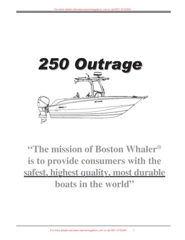 Boston Whaler - 250 Outrage by Marine Mega Store Ltd - issuu