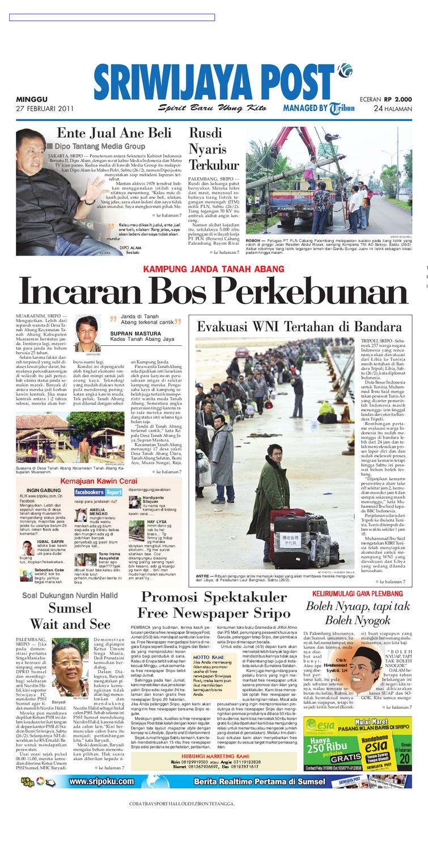 Sriwijaya Post Edisi Minggu 27 Februari 2011 by Yulius Saputra - issuu b2b34b2136