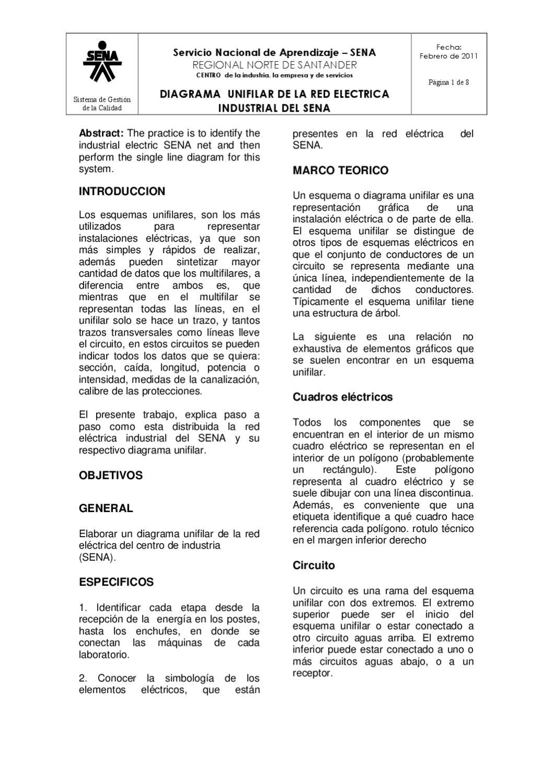 Circuito Unilineal : Informe de sistema unifilar de la red electrica del sena by jesmely