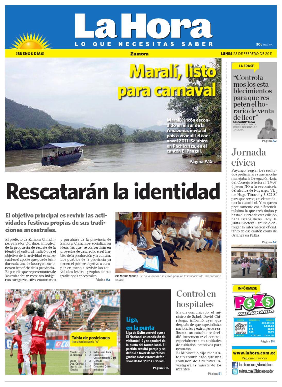 Diario La Hora Zamora 10 De Nov De 2010 By Diario La Hora Ecuador