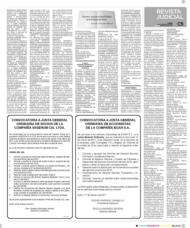 Edición impresa revista judicial 28 de febrero del 2011