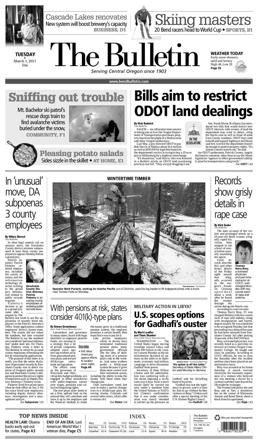 buy online 10249 fd0e3 Bulletin Daily Paper 03 01 11 by Western Communications, Inc. - issuu