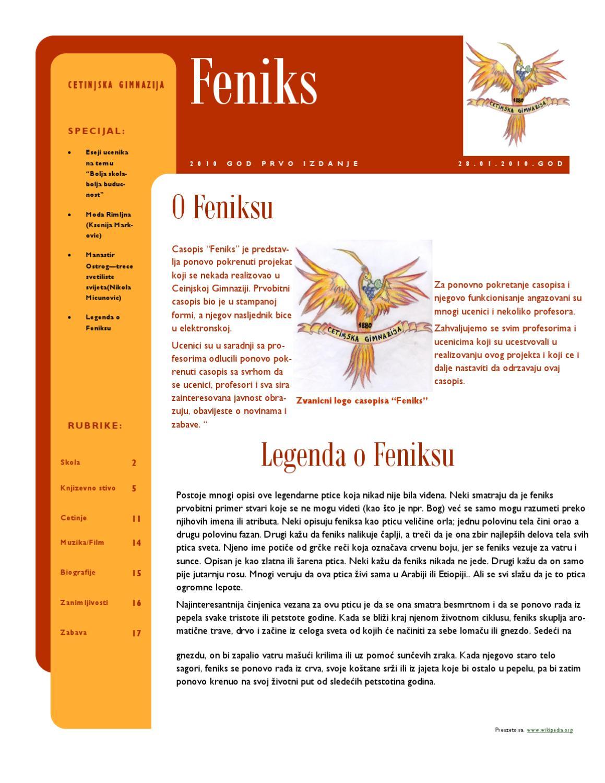 Feniks Br1 By Gimnazija Cetinje Issuu