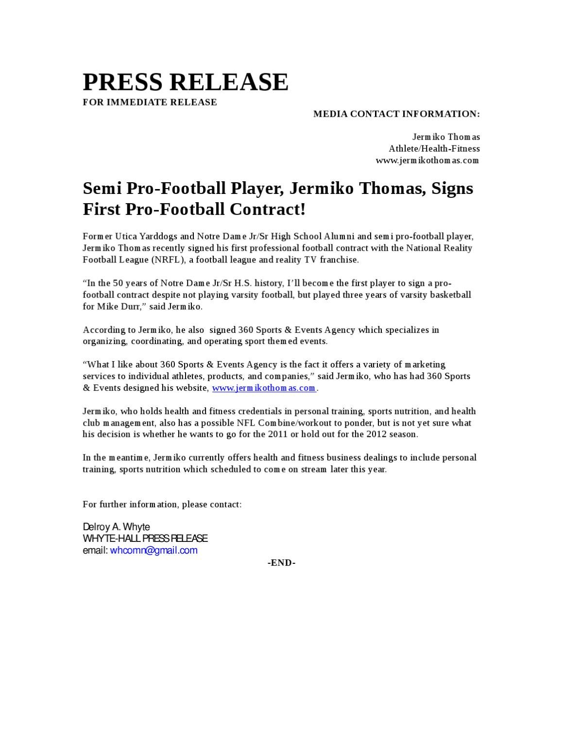 football contract template - semi pro football player signs first pro football contract