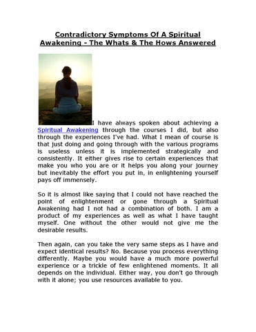 Contradictory Symptoms Of A Spiritual Awakening - The Whats