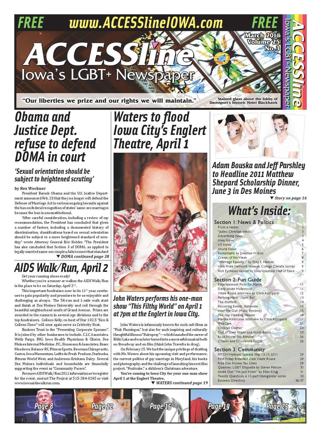 ACCESSline, Iowa's LGBT+ Newspaper, March 2011 Issue, Volume 25 No 3 by  ACCESSline - issuu