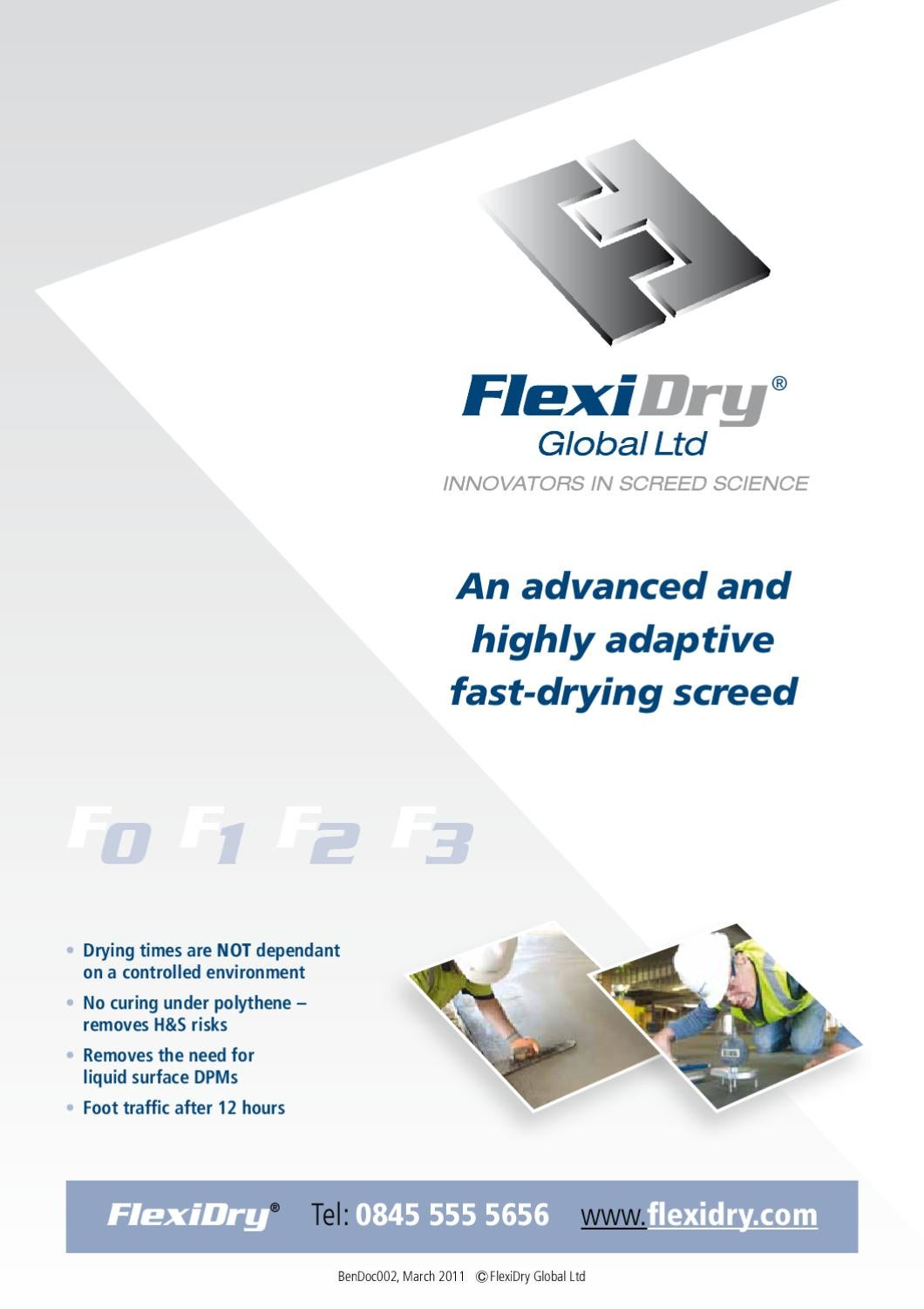 Flexidry fast drying floor screed infopack by flexidry for Floor screed drying times
