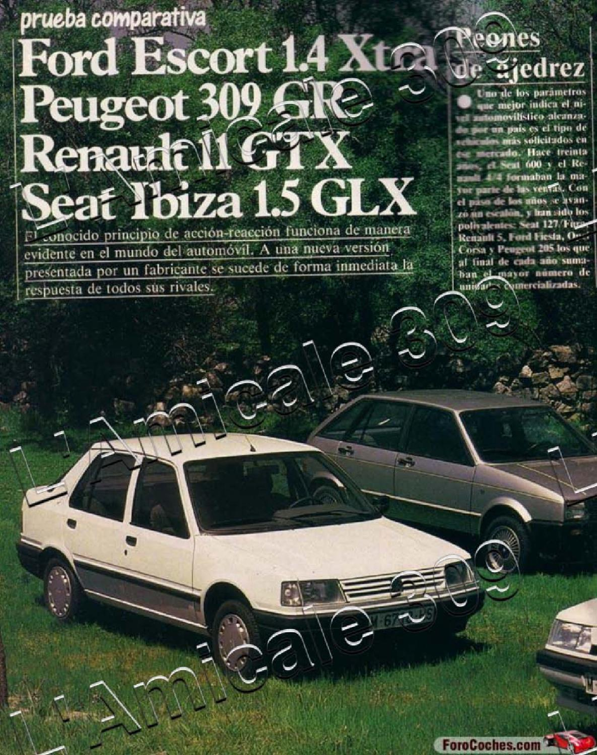 1986 Spain Autopista Prueba Comparativa Ford Escort Peugeot 309 Renault 11 Seat Ibiza By L Amicale 309 Issuu