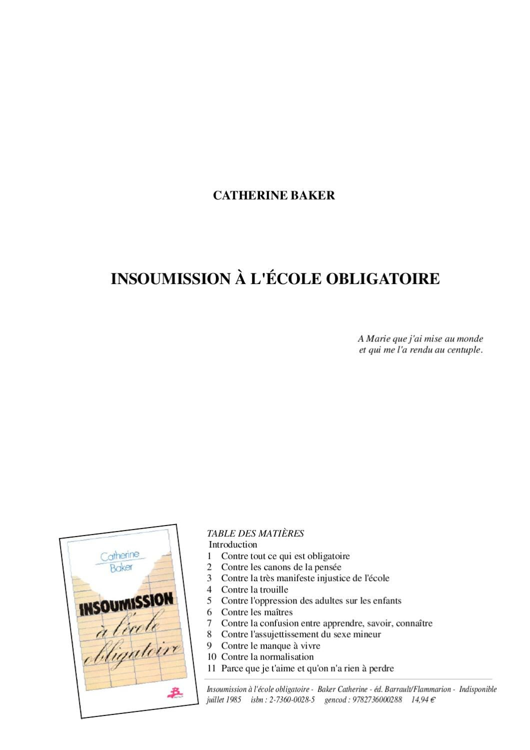 Insoumission a l'cole obligatoire by Enfance Buissonniere - issuu