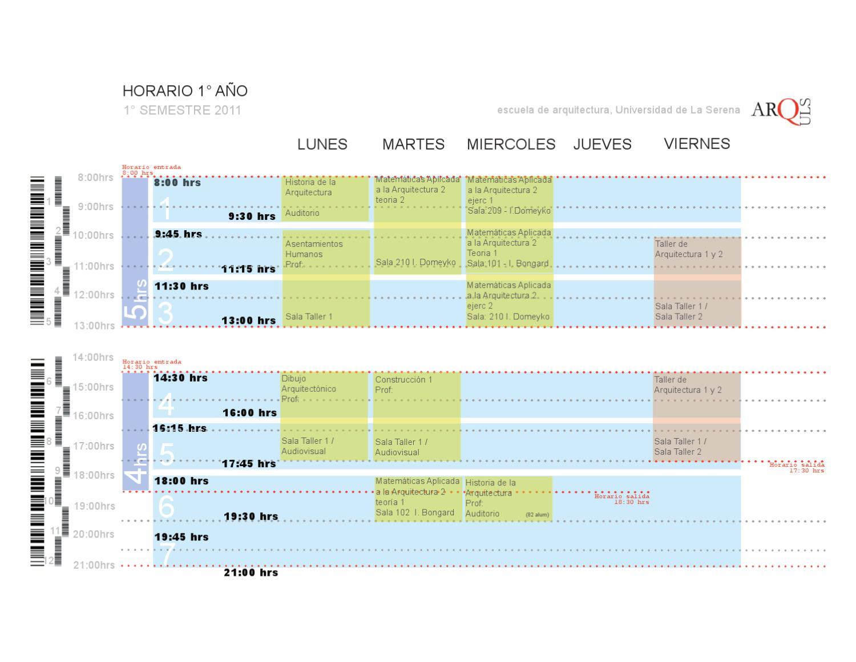 horarios 2011 by escuela de arquitectura uls issuu
