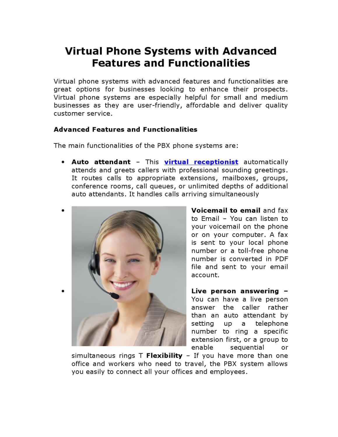 Virtual Phone Systems With Advanced Features And Functionalities By