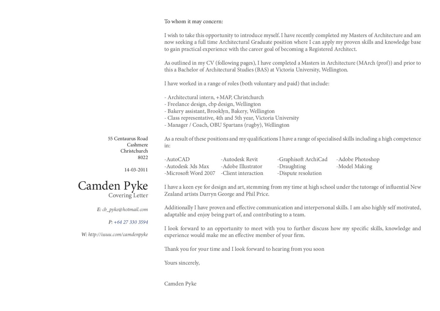 Cover Letter And CV By Cam Pyke   Issuu