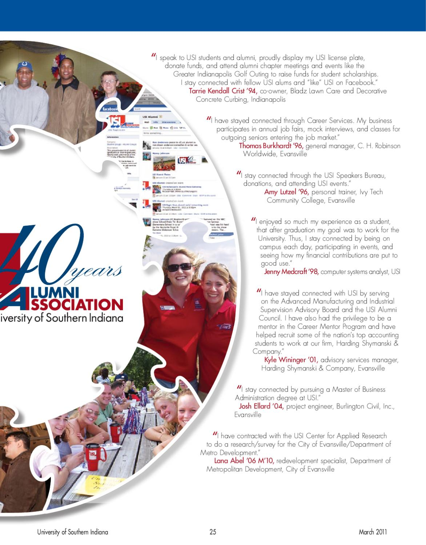 USI Magazine March 2011 by University of Southern Indiana - issuu