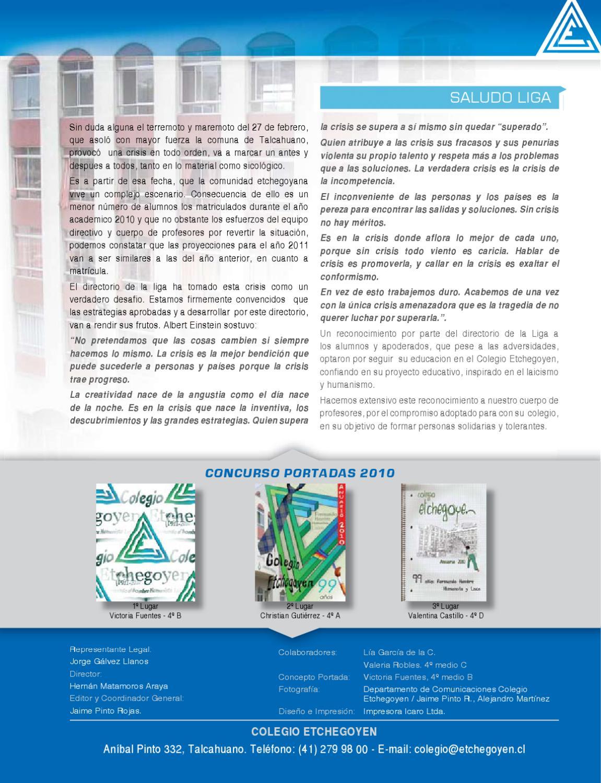 Anuario 2010 by Colegio Etchegoyen - issuu