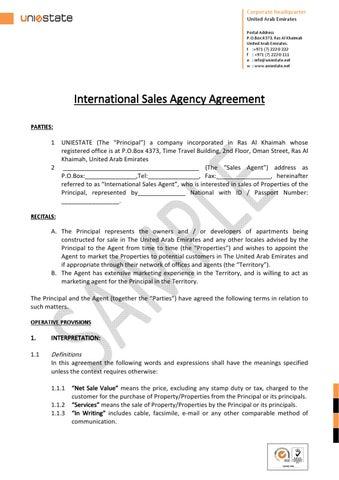 International Agency Agreement By Uniestate Uniestate Issuu