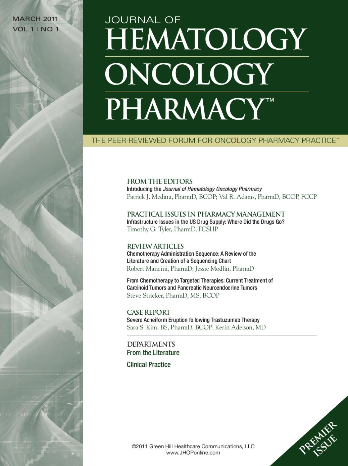 Journal of Hematology Oncology Pharmacy by The Oncology