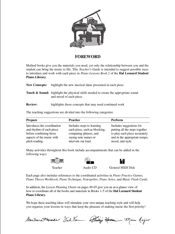 Hal Leonard Student Piano Library Teacher's Guide - Piano Lessons