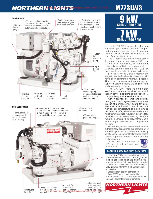Marine Engine Room Lights: 9-7 KW Northern Lights Marine