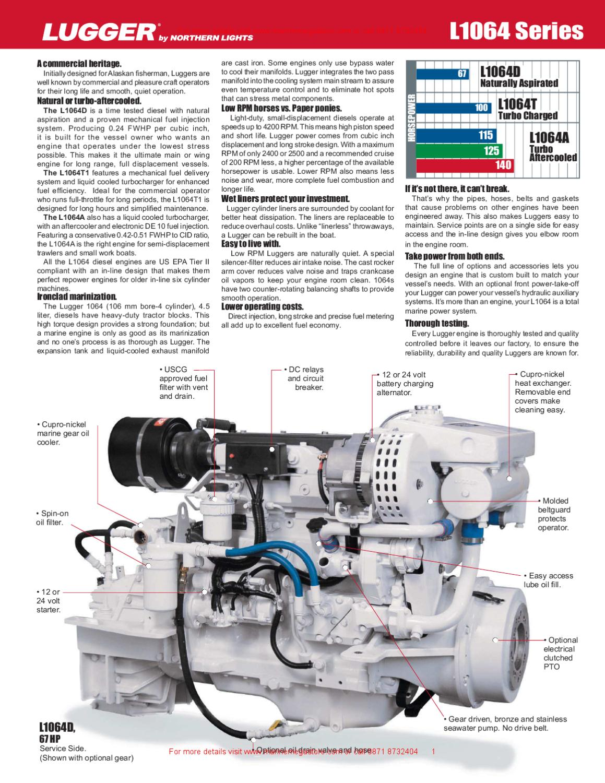 northern lights l1064 series 67 140 hp lugger marine propulsion