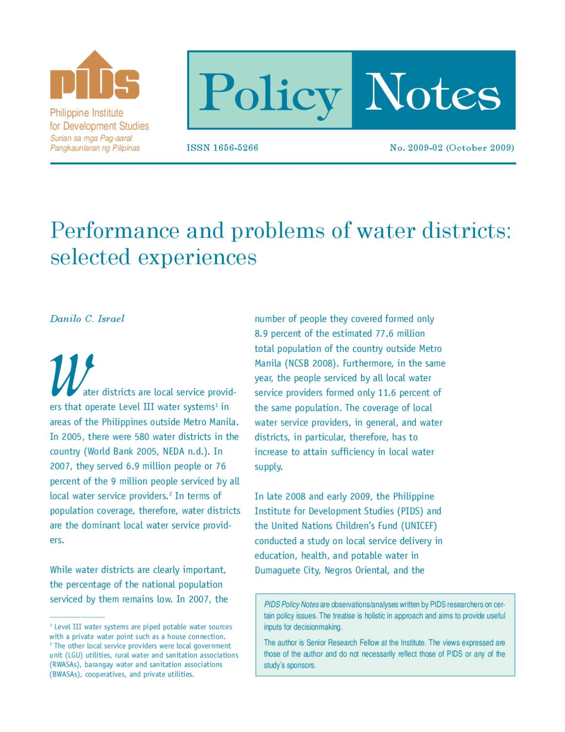 Performance and Problems of Water Districts: Selected