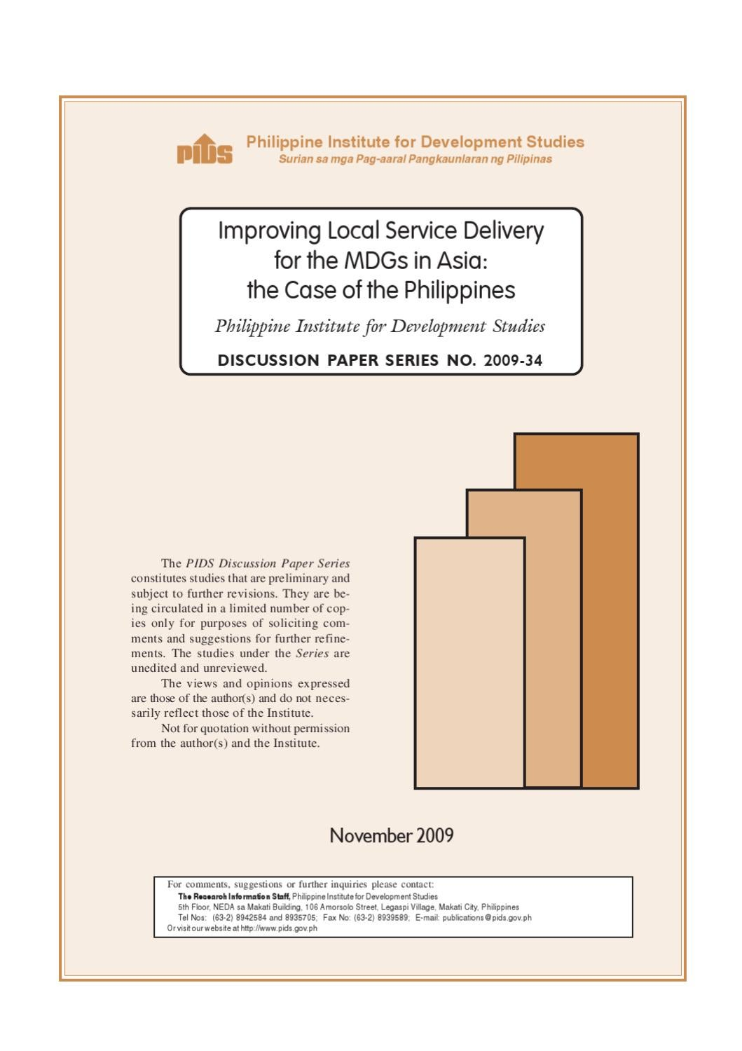 Improving Local Service Delivery for the MDGs in Asia: the