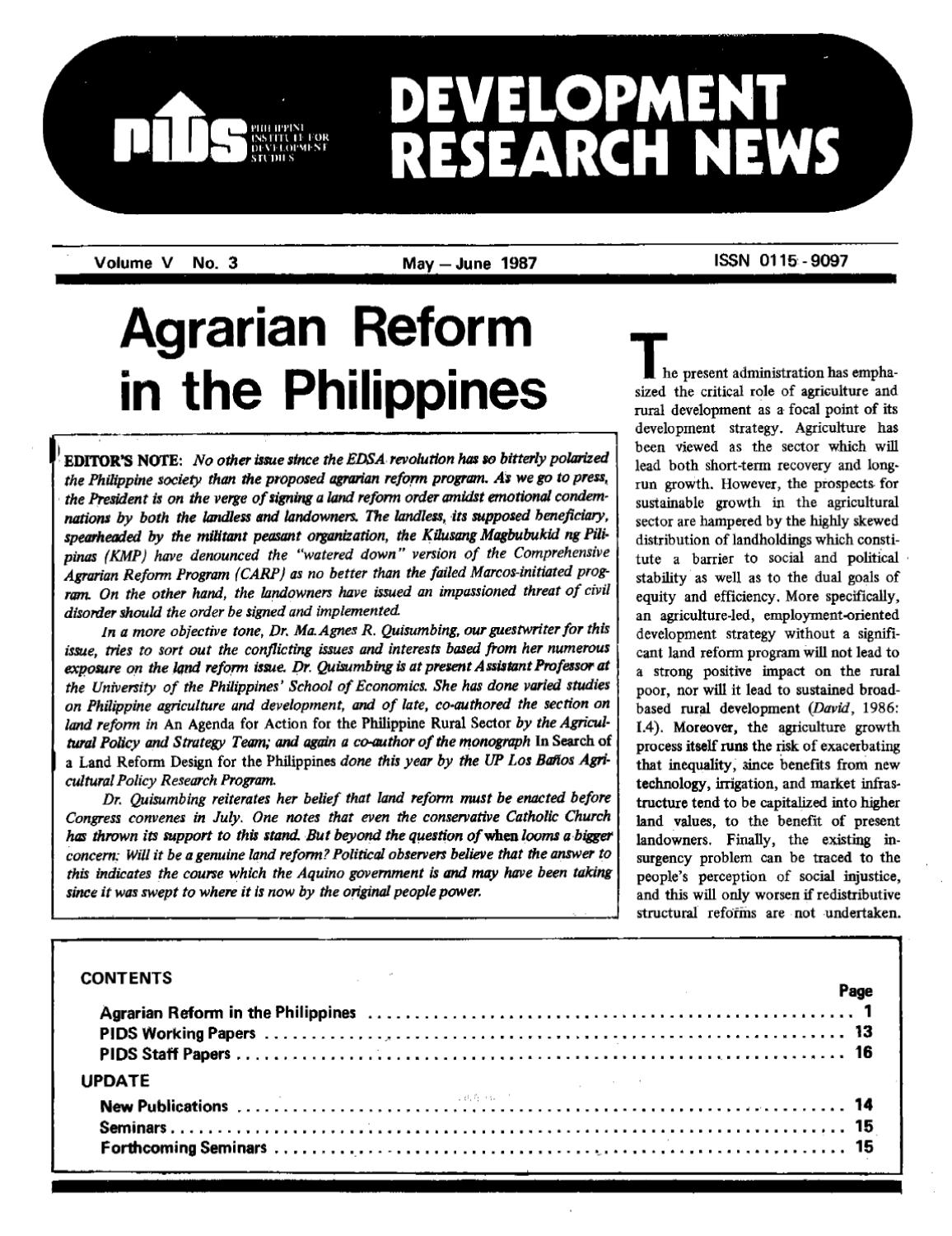 comprehensive agrarian reform program research paper Agrarian reform joseph ejercito estrada magkasaka (magkabalikat para sa kaunlarang agraryo) history of agrarian reform gloria macapagal - arroyo (3rd sona , july 2012) theory application what theories / models are applicable to the comprehensive agrarian reform program.