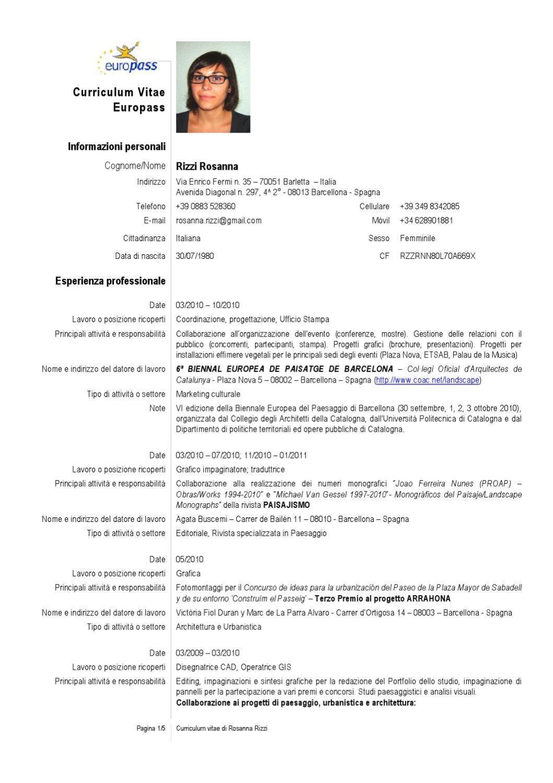 Curriculum Vitae Rosanna Rizzi By Rosanna Rizzi Issuu