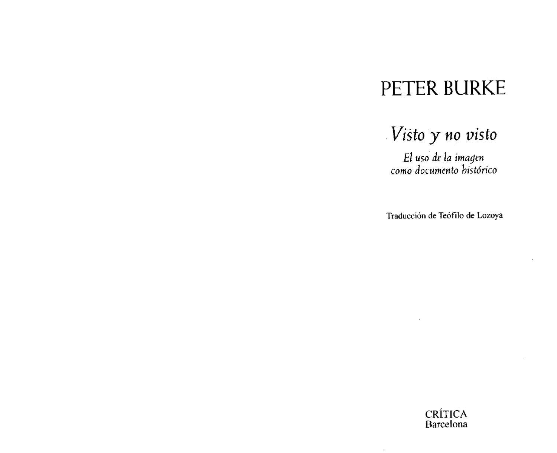 Peter Burke - Visto y no visto by Martín Gentile - issuu